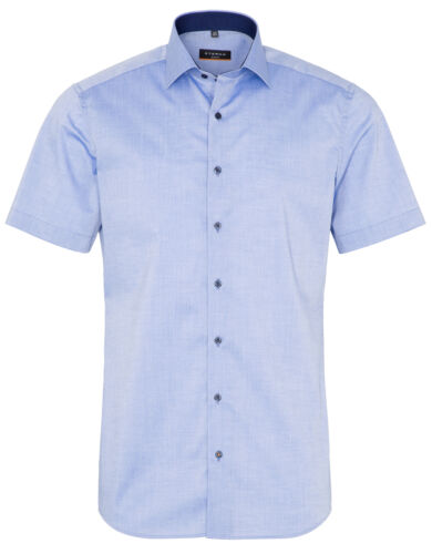 Eterna Hommes Manches Courtes Business Chemise Slim Fit Chambray Bleu Patch 8888.15.g140