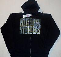 Pittsburgh Steelers Men's L Xl 2x Zippered Distressed Hooded Sweatshirt Hoodie