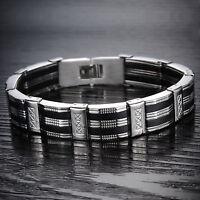 Herren Armband Edelstahl Silikon Schwarz Silber Armreif Armkette Mode Schmuck