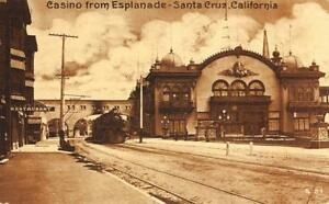 Train-amp-Casino-from-Esplanade-Santa-Cruz-California-ca-1910s-Vintage-Postcard