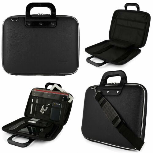 """SumacLife Black Leather Briefcase Messenger Bag For 12.3/""""Microsoft Surface Pro 6"""