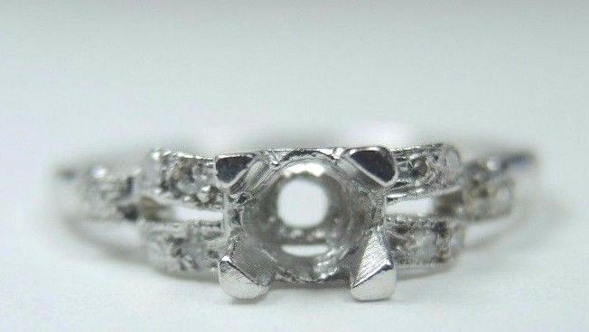 eb52340e59478 Antique Art Deco Setting Mounting Mount Platinum Hold 4.5-5MM Ring ...