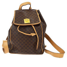 Authentic CELINE PARIS Macadam Logos Backpack Bag PVC Leather Brown Italy 02Z306