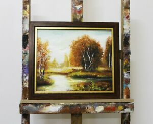Painting-Forest-Handmade-Oil-Picture-Frame-Landscape-G96091