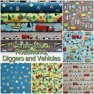 Car-Digger-Roadworks-Construction-Building-Site-100-Patchwork-Cotton-Fabric