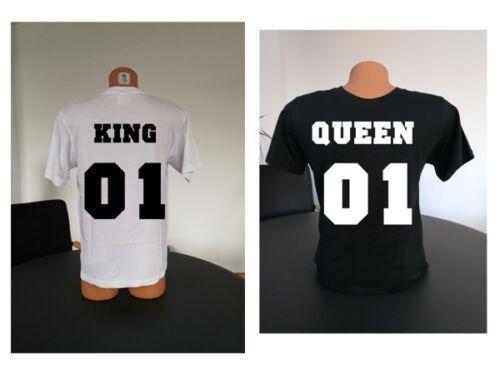 V-Ausschnitt T-Shirt KING /& QUEEN Pärchen PARTNERCOUPLELIEBEHOCHZEIT Wunschzahl