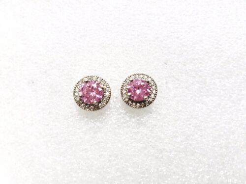 pink tourmaline earring Simulated diamond