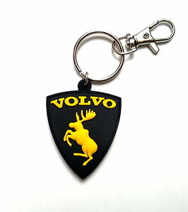 Keyring-Volvo-moose-badge-rubber-key-chain-BLACK-as-sticker-UNIQUE-GIFT