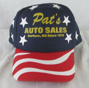 Red White And Blue Auto Sales >> Details About Vintage 90s Trucker Hat Snapback Pat S Auto Sales Gorham Nh Red White Blue