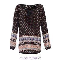Womens Ladies Casual Boho Chiffon Loose Plus Sizes Aztec Print Shirt Top Blouse
