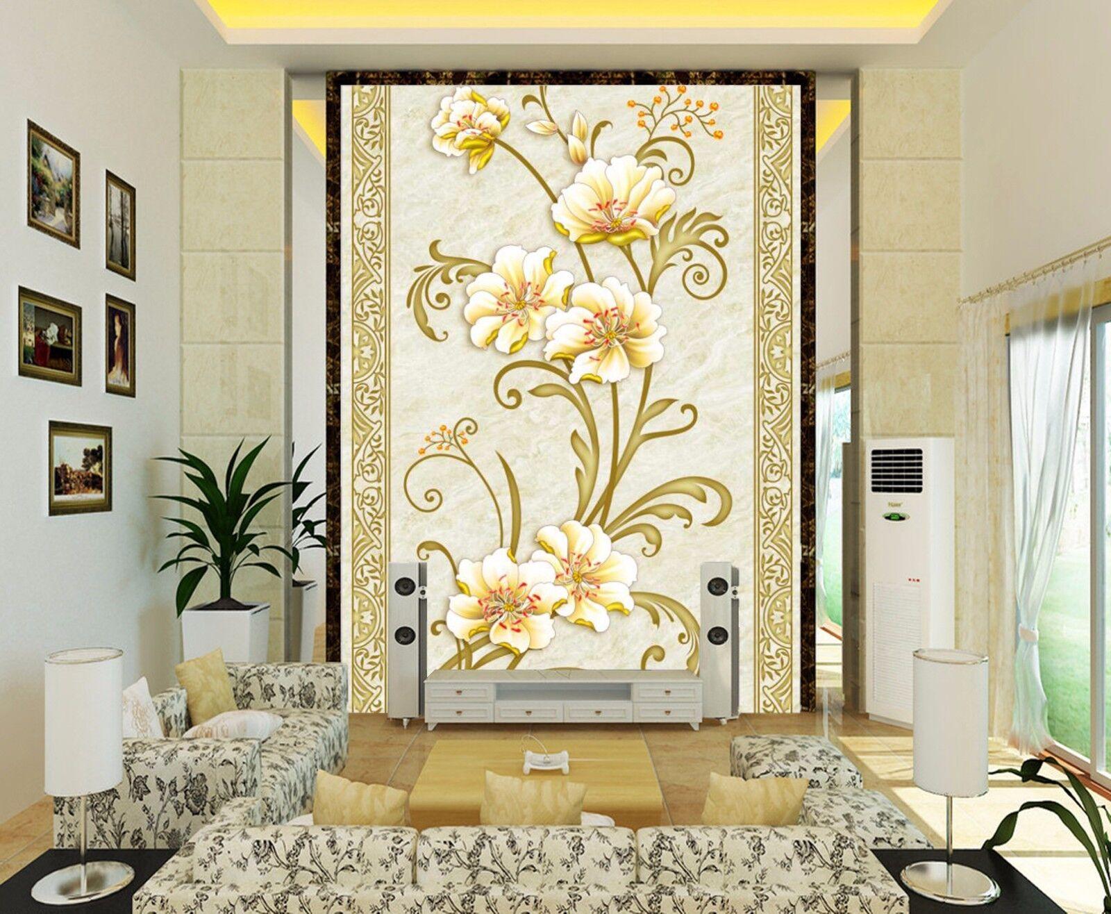 3D Elegant flowers 4656 Wall Paper Wall Print Decal Wall Deco Indoor wall Murals