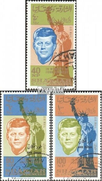 Sharjah / khor fakkan 22A-24A fine used / cancelled 1965 Death John F. Kennedy