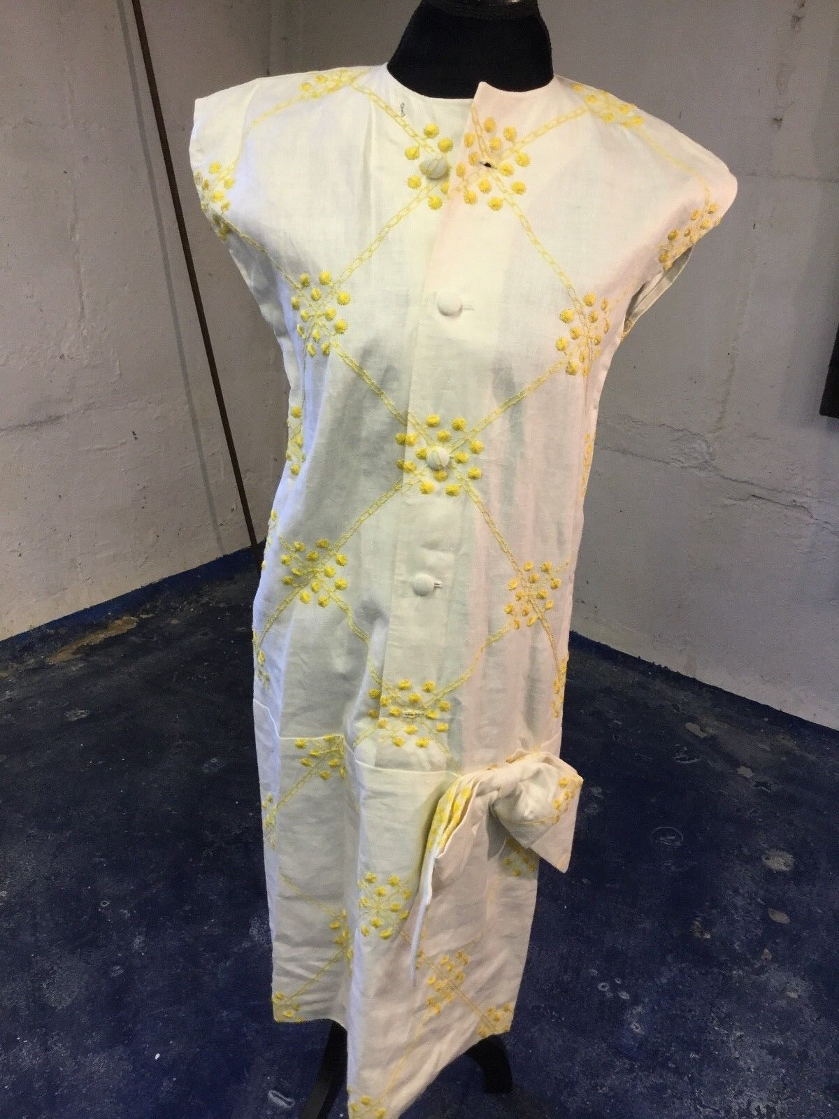Vintage Rare Couture Irish Linen Cream and Yellow Dress with Bow