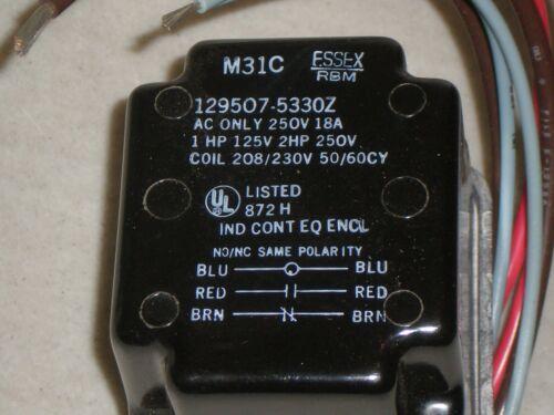 Essex 90-125 RBM Relay SPDT 208//230VAC Coil 129507-5330Z Steveco Free Ship New