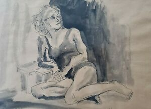 WOW-Signed-Herbert-Kosow-Woman-Pen-amp-Ink-Watercolor-Art-Freeport-New-York