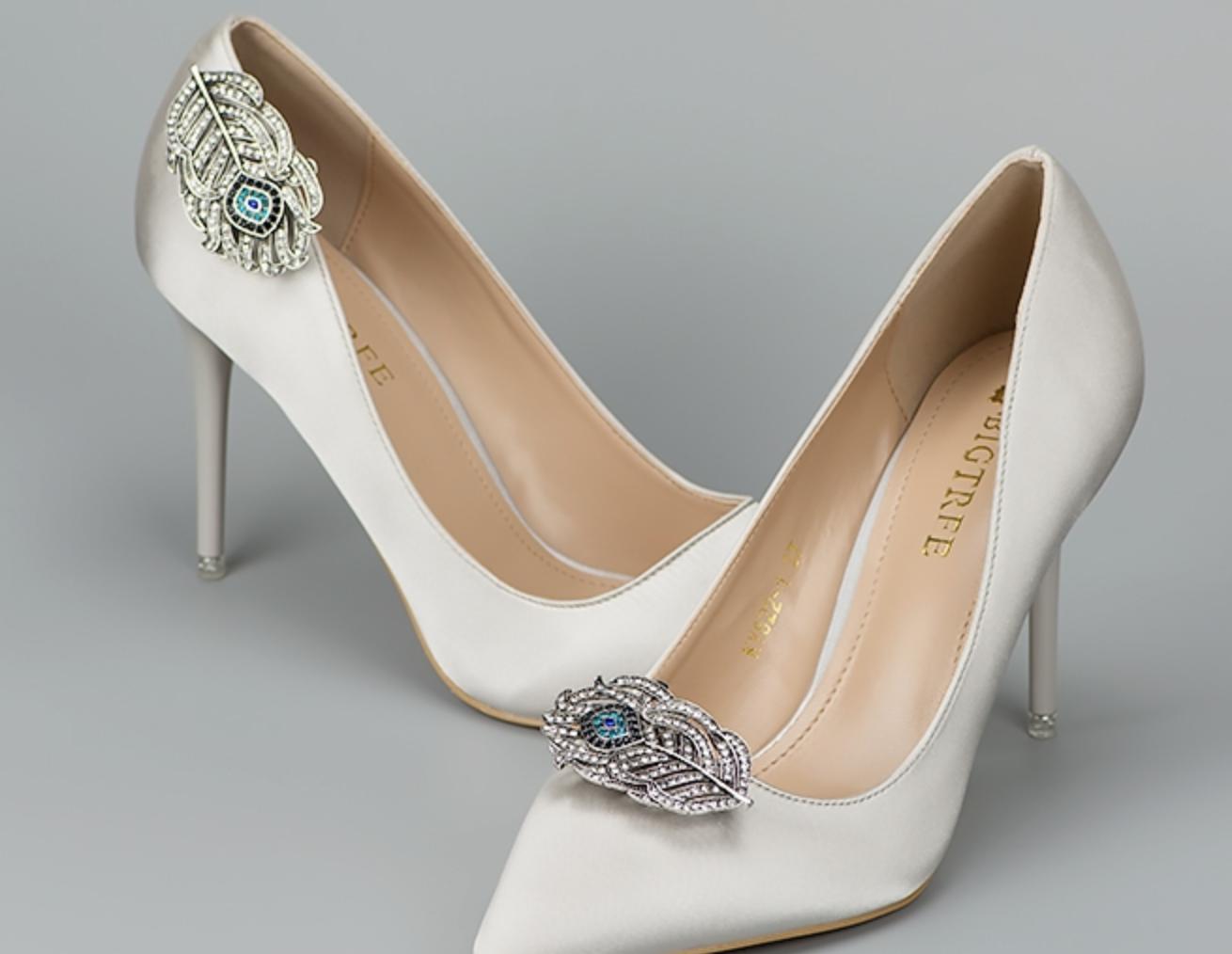 Blue Crystal Wedding Diamante Feather High Heel Shoe Charm Clips Pair