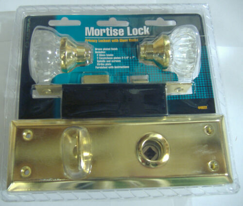 MORTISE LOCK PRIVACY LOCKSET WITH GLASS DOOR KNOBS WITH BRASS BASE VINTAGE STYLE