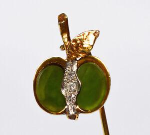 Billiger Preis Krawattennadel Anstecknadel 585 Gold Apfel Jade 3 Brillanten Handarbeit 4,1 Cm Herrenschmuck Unikate & Goldschmiedearbeiten