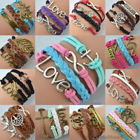 Fashion Handmade Infinity Womens Rudder Leather Friendship Love Couple Bracelet