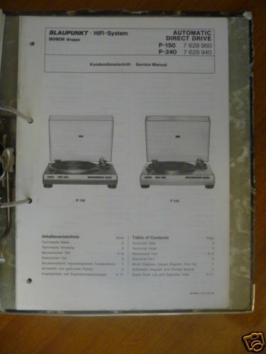 Service Manual Blaupunkt P 240 Record Player  Original