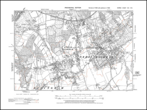Little Bookingham old map Surrey 25-NW Great Bookingham Effingham in 1938