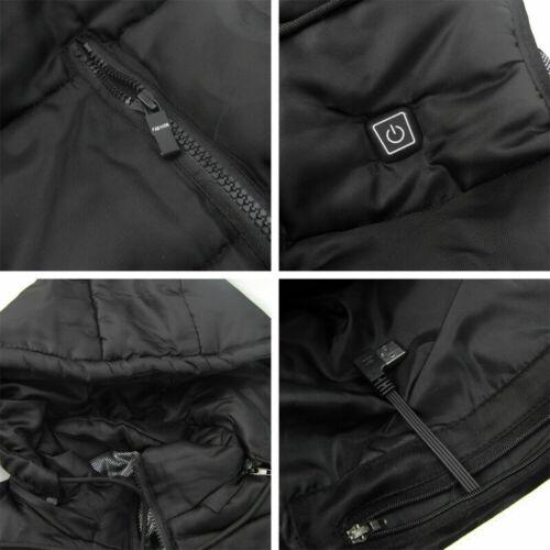 USB Heated Warm Mens Winter Heating Hooded Slim Vest Lightweight Warm Waistcoat