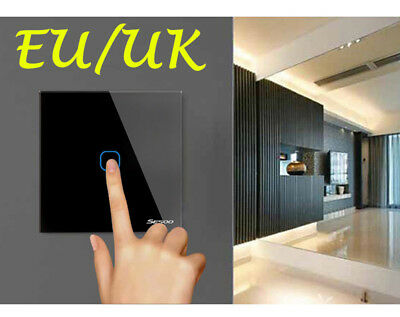 Luxury Glass Panel Touch LED Light Smart Switch ON//OFF KONOQ 1Gang//1Way Grey