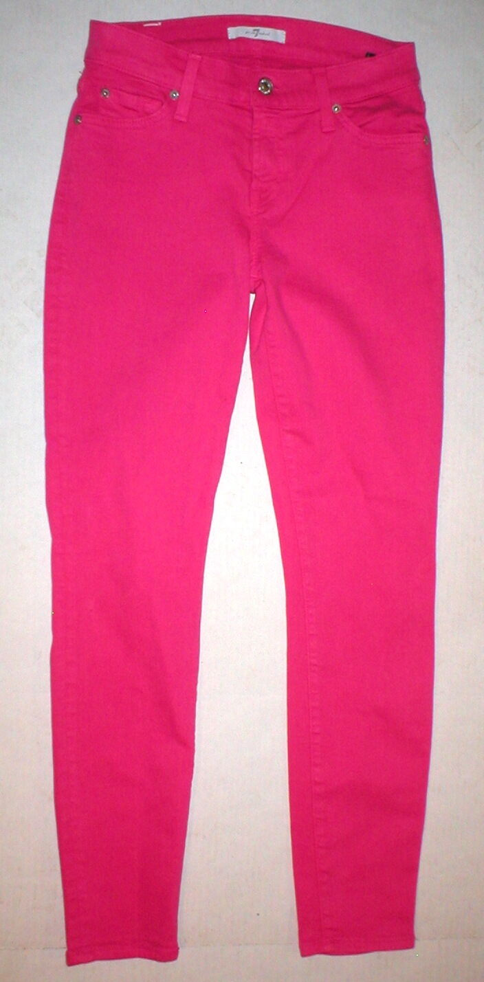 New Womens 7 For All Mankind Bright Paradise Pink Jeans 26 Designer Skinny Slim