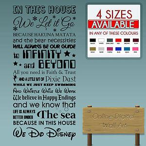Dettagli Su This House We Fare Disney Adesivo Da Parete Citazioni Per Bambini Transfer