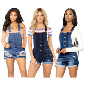 new & pre-owned designer shop for luxury latest fashion Details about Summer Womens Distressed Denim Overall Shorts Teen Girl  Ripped Jeans Hot Pants