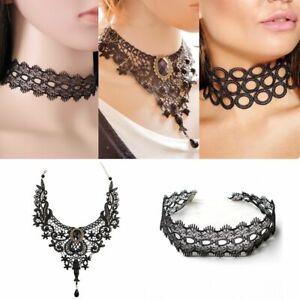 Vintage Cameo Victorian Gothic Black Lace Necklace Choker Collar Punk Pendant ..