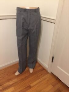 Men S Pleated Austin Reed Gray Grey Wool Pants Slacks Dress Pleated 35x32 Guc Ebay