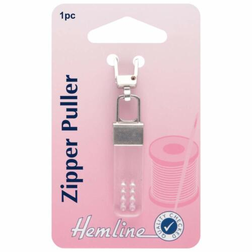 Hemline Zipper Tag Zip Pull Puller Slider réparation remplacement Toutes Couleurs /& Style