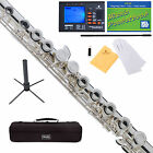 Mendini C Flute Silver Plated, Closed Hole, Offset G, Split E +Tuner+Stand+Case