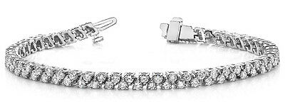 3.35 CT REAL ROUND DIAMOND 7 INCH VS/F TENNIS BRACELET 18K WHITE GOLD HALLMARKED