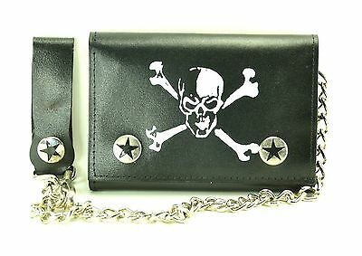 Skull Leather Trifold Bikers Wallet with Chain Punk Rockers Skaters Gothic Kids