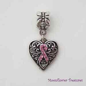 Tibetan-Silver-Rhinestone-Pink-Ribbon-Awareness-Heart-Charm-fit-Euro-Bracelet