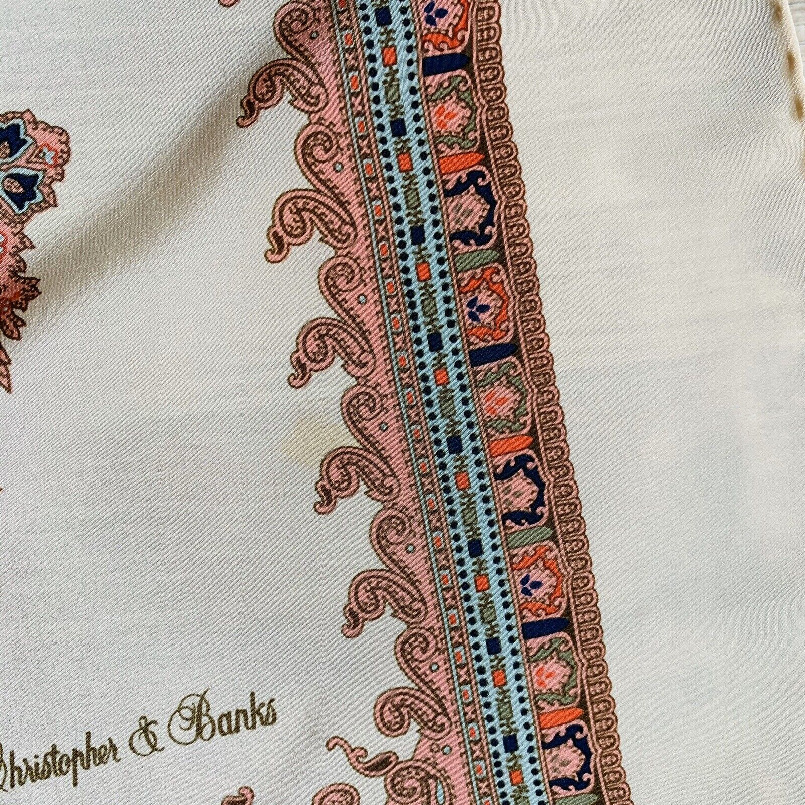 Christopher & Banks Square Paisley Beige Scarf 34… - image 5