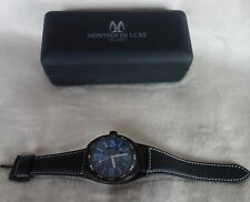 Montres de Luxe Men's  Avio Black Luminous Leather Watch new