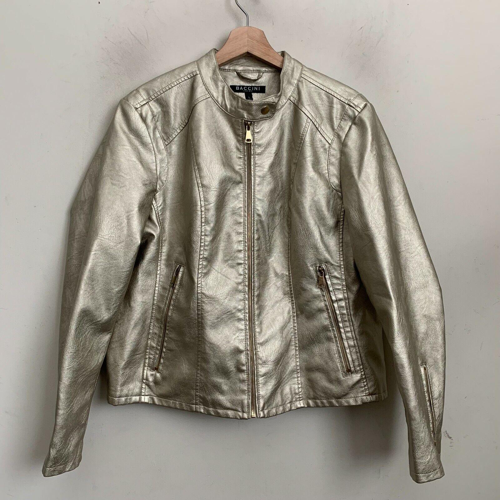 Baccini Womens Jacket Biker Moto Gold Faux Leather Zip Pockets Lined Size L