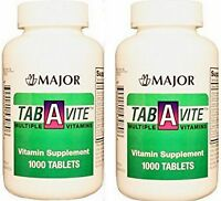 Major Tab A Vite Multivitamin Easy Swallow Tablets 1000ct ( 2 Pack ) 2000 Tabs