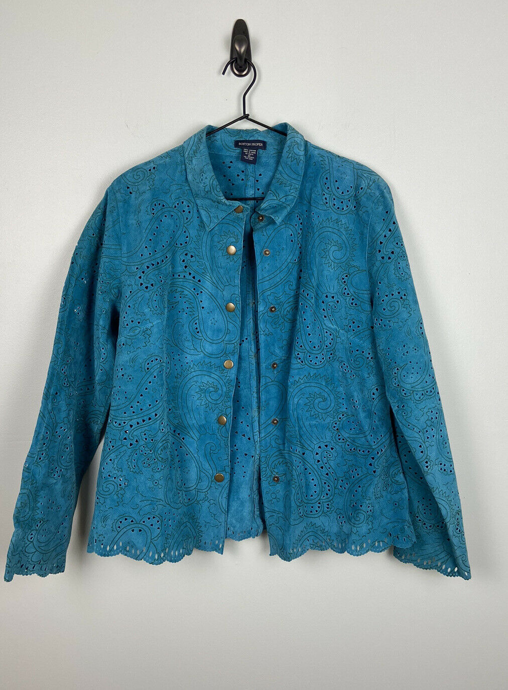 Boston Proper, Vintage Turquoise leather jacket with scallop trim, size 12