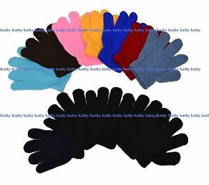 Wholesale-Lot-12-Pairs-Boys-Girls-Kids-Knit-Magic-Solid-Plain-Gloves-New-York