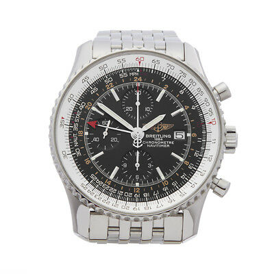 BREITLING NAVITIMER WORLD CHRONOGRAPH STAINLESS STEEL WATCH A24322 46MM W4527