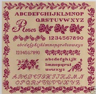 grille point de croix ANGES aux ROSES ANCIENNES Réf 8004