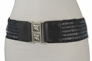 WOMEN THIN BLUE SUMMER FASHION BELT WITH RHIESTONES BUCKLE SIZE S M L XL