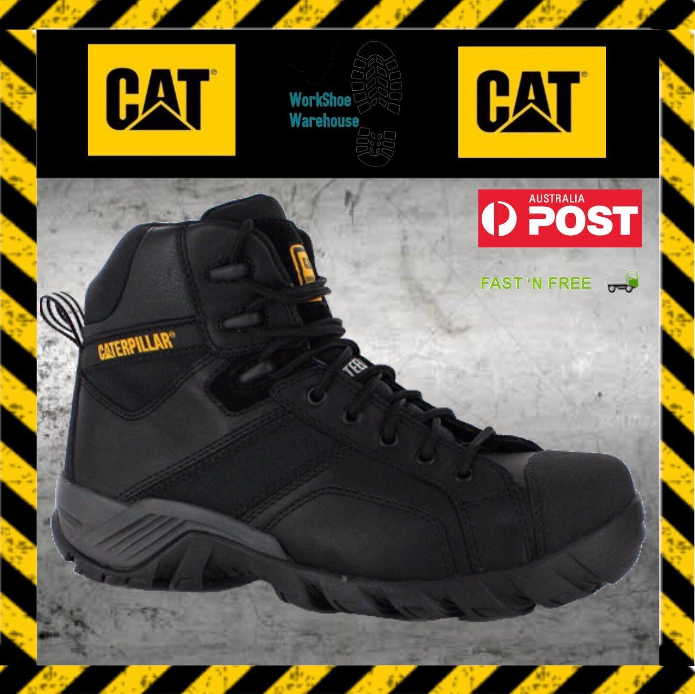 Caterpillar CAT Argon Hi Steel Toe Side Zip Black Safety Work Boots