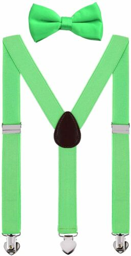 Details about  /WDSKY Mens Boys Suspenders and Bow Tie Set for Wedding with Heart Clips