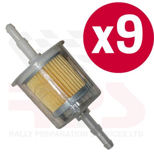 9 X Universel en Ligne à Essence Filtre à carburant Large Fits pipe 6.5-8mm Course Rallye Route