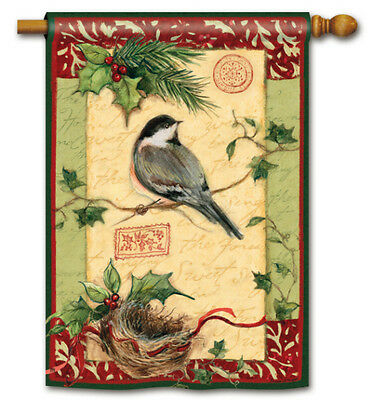 """HOLIDAY CHICKADEE FROSTY DAYS FROSTY NIGHTS LARGE DECORATIVE BANNER FLAG 28""""x40"""""""